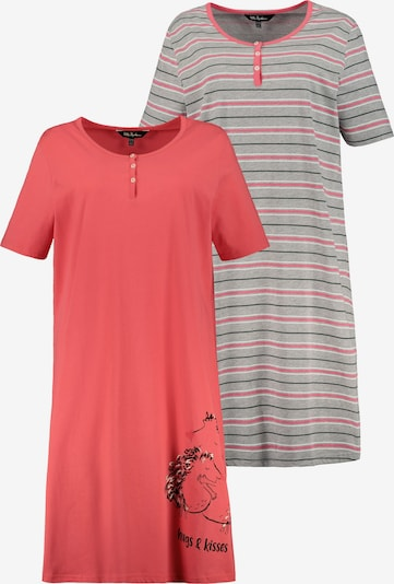 Ulla Popken Nachthemd in hellgrau / hellrot, Produktansicht