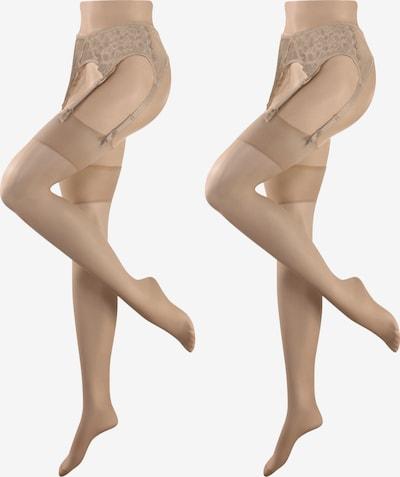 DIE STRUMPFMACHER Strümpfe 20den/22dtex mit weichem Doppelrand Doppelpack in beige / nude / puder, Produktansicht