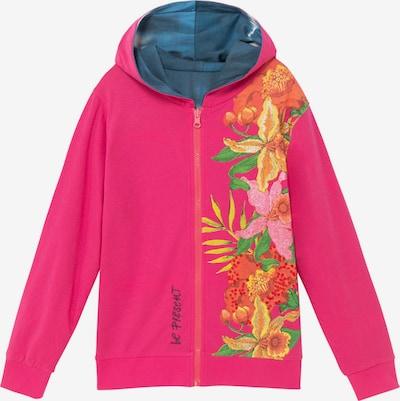 Desigual Sweatvest 'FLORA' in de kleur Hemelsblauw / Goudgeel / Limoen / Koraal / Pitaja roze, Productweergave