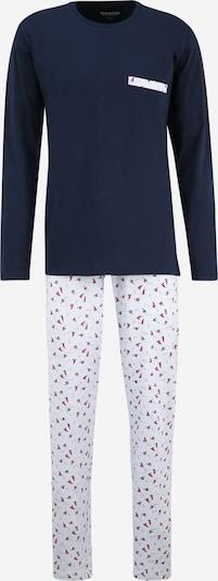 SCHIESSER Pyjama long en marine / bleu clair / rouge, Vue avec produit