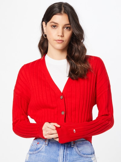 Tommy Jeans Strickjacke in rot, Modelansicht