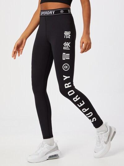 Superdry Sporta bikses, krāsa - melns / balts: Priekšējais skats