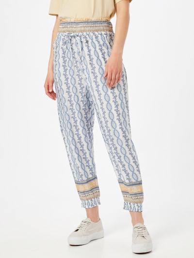 Cream Pantalon harem 'Olina' en bleu-gris / bleu clair / caramel / noisette / blanc, Vue avec modèle