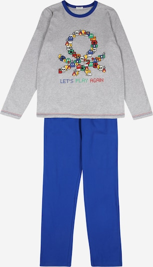 UNITED COLORS OF BENETTON Pyjama in royalblau / grau / mischfarben, Produktansicht