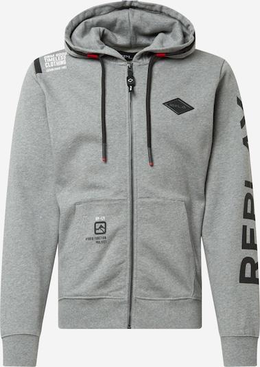 REPLAY Veste de survêtement en gris / noir / blanc, Vue avec produit
