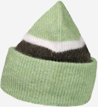 Megzta kepurė iš Samsoe Samsoe , spalva - mėtų spalva / juoda / balta, Prekių apžvalga