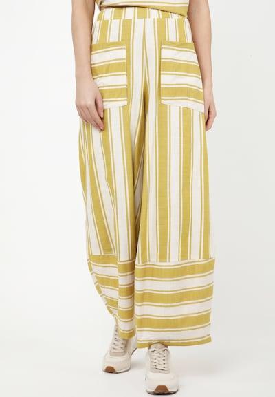 Madam-T Trousers 'CABULA' in gelb / weiß, Modelansicht