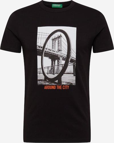 UNITED COLORS OF BENETTON Тениска в сиво / оранжево / черно / бяло, Преглед на продукта