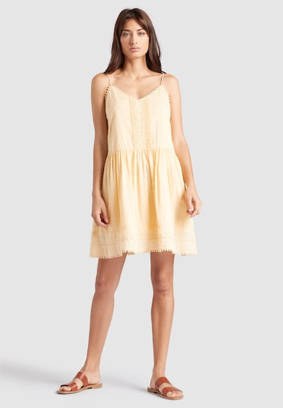 khujo Zomerjurk ' Felicity' in de kleur Pasteelgeel, Modelweergave