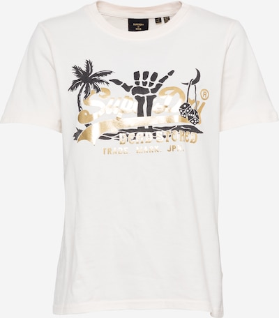 Superdry T-Shirt in gold / dunkelgrau / offwhite, Produktansicht
