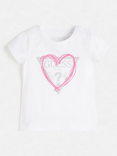 GUESS KIDS T-Shirt in grau / rosa / weiß, Produktansicht