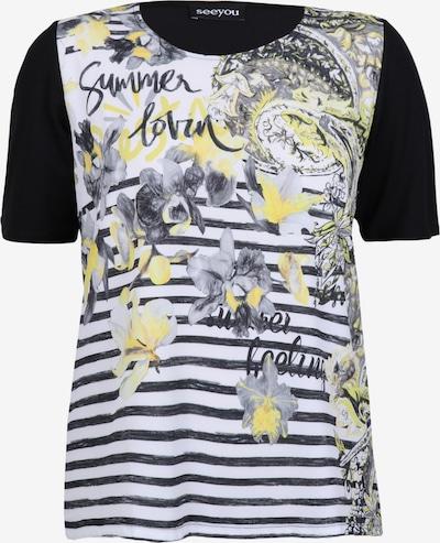 seeyou Shirt mit Materialmix in schwarz, Produktansicht