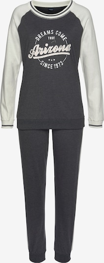 ARIZONA Pyjama 'New College' in dunkelgrau / weiß, Produktansicht