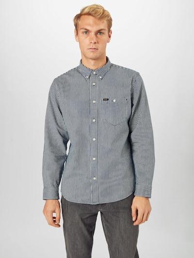 Lee Overhemd 'Riveted' in de kleur Blauw denim / Wit: Vooraanzicht