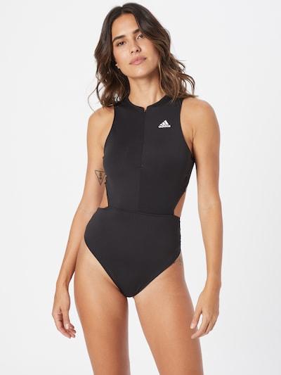 Costum de baie sport 'LEOTARD' ADIDAS PERFORMANCE pe negru / alb, Vizualizare model