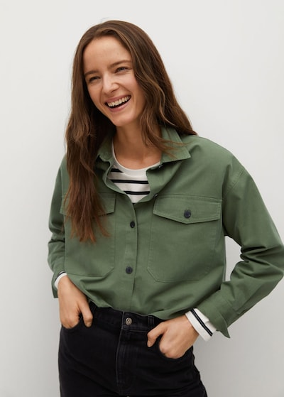 MANGO Bluse 'Leandra' in khaki, Modelansicht