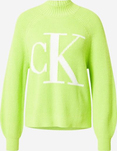 Pulover Calvin Klein Jeans pe verde kiwi / alb, Vizualizare produs