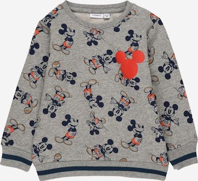NAME IT Sweat-shirt 'MICKEY METTIS ' en bleu marine / marron / gris chiné / orange, Vue avec produit