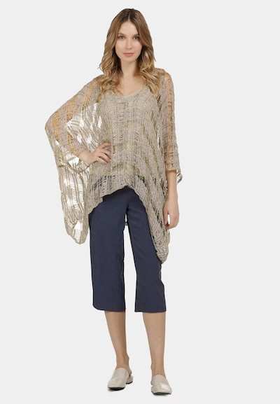 Usha Poncho in gold / taupe: Frontalansicht