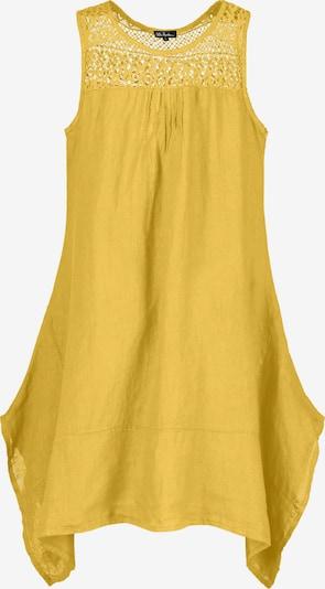 Ulla Popken Ulla Popken Damen große Größen  bis 64, Leinenmix-Kleid mit Zipfelsaum, transparente Häkelspitze, breite Träger, Seitlich mit Eingrifftaschen, 721864 in gelb, Produktansicht