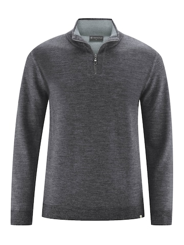 HempAge Pullover ' Troyer with zipper ' in Grau