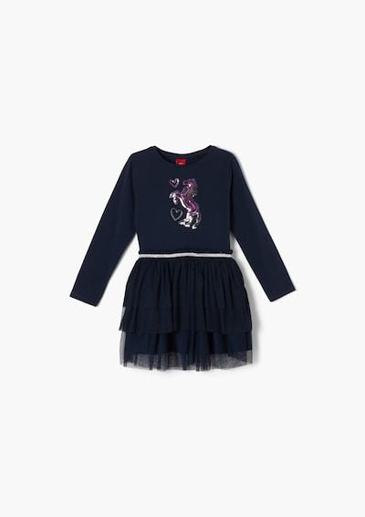 s.Oliver Kleid in dunkelblau / pink / silber, Produktansicht