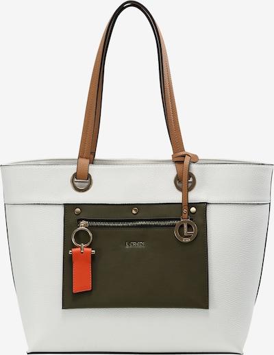 L.CREDI Shopper 'Emerita' in oliv / weiß, Produktansicht