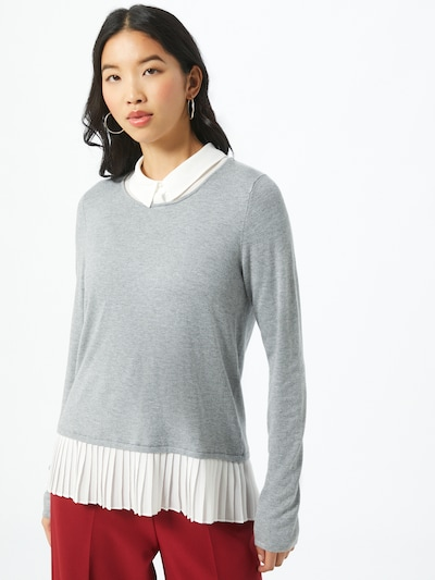 s.Oliver BLACK LABEL Pullover in hellgrau / weiß, Modelansicht