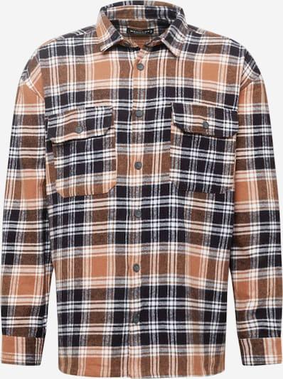 Mennace Skjorta 'EVIAN' i brun / svart / vit, Produktvy