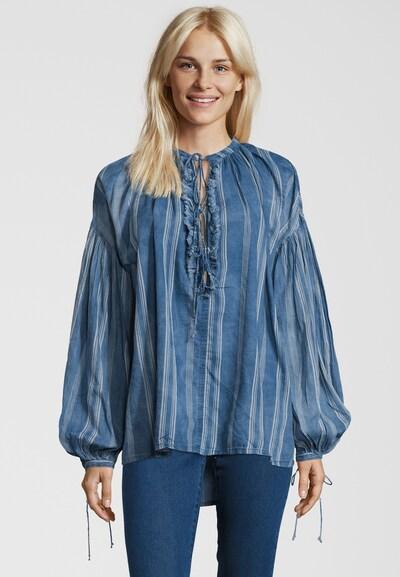 REPLAY Bluse mit Zierbändchen in blau, Modelansicht