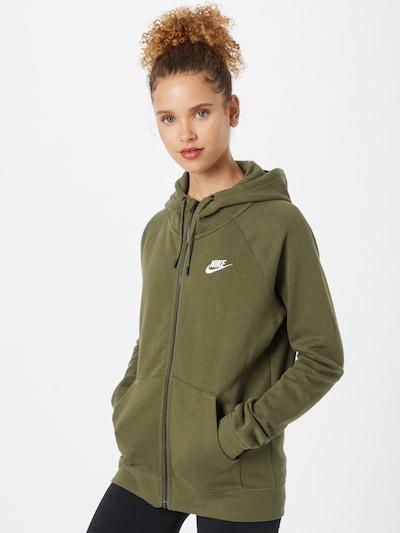 Nike Sportswear Sweatjacke in oliv / weiß: Frontalansicht