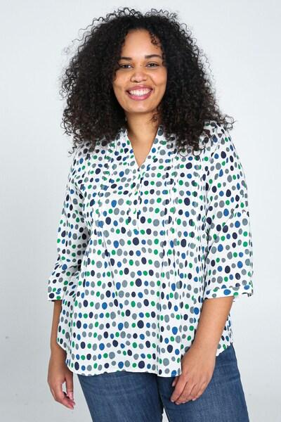 Paprika Bluse in blau / grün / weiß, Modelansicht