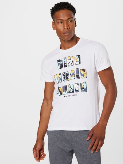 Petrol Industries Тениска в синьо / тъмносиньо / жълто / бяло: Изглед отпред