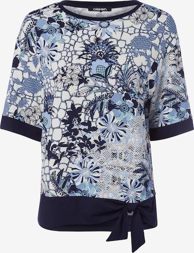 Olsen Rundhalsshirt mit dekorativem Bindeband am Saum in rauchblau, Produktansicht