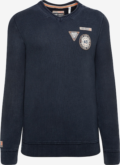 CAMP DAVID Stone Washed Pullover mit Patches in dunkelblau, Produktansicht