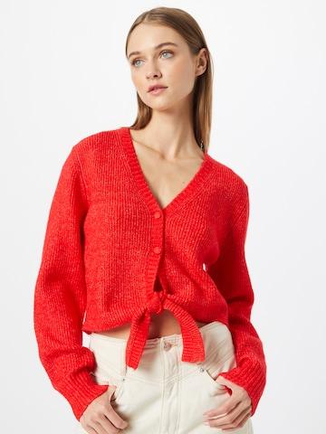Funky Buddha Knit Cardigan in Red