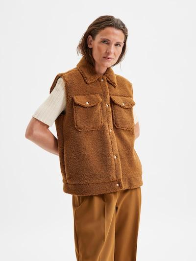 SELECTED FEMME Bodywarmer 'Jany' in de kleur Bruin, Modelweergave