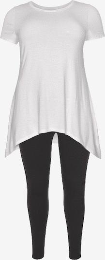 FLASHLIGHTS Longshirt + Leggings 'Vokuhila' in schwarz / weiß, Produktansicht