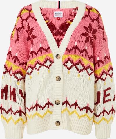 Tommy Jeans Strickjacke 'Fairisle' in pink / weiß, Produktansicht