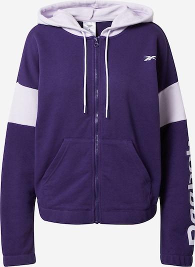 REEBOK Sudadera con cremallera deportiva en lila oscuro / blanco, Vista del producto