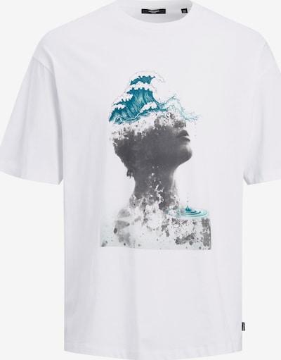 JACK & JONES Тениска 'Callie' в тюркоазен / антрацитно черно / бяло: Изглед отпред