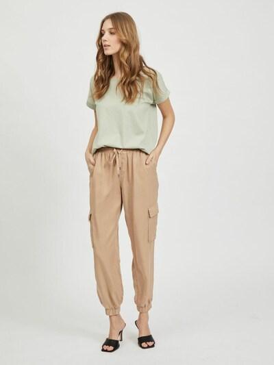 VILA Cropped Loose Fit Hose in beige, Modelansicht