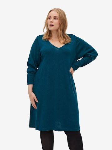 Zizzi Gebreide jurk 'Mshape' in Blauw