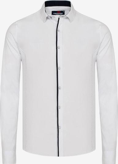 CIPO & BAXX Hemd MARCO mit Kontrast-Saum und Knopfleiste in weiß: Frontalansicht