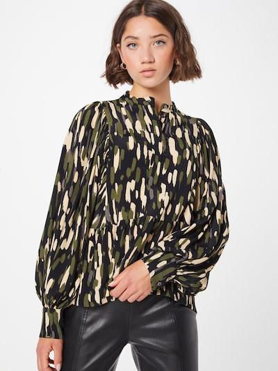 DAY BIRGER ET MIKKELSEN Bluse i creme / oliven / sort, Modelvisning