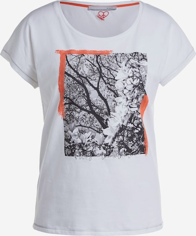 OUI Shirt in de kleur Donkergrijs / Sinaasappel / Zwart / Wit, Productweergave