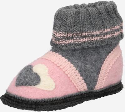 BECK Zapatillas de casa 'Little Hearts' en gris basalto / rosa / blanco, Vista del producto