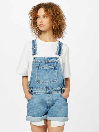 River Island Dungaree jeans in Blue denim, View model