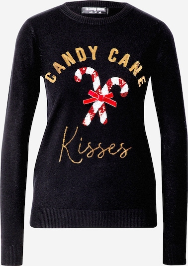 Fashion Union Pullover 'CANDY CANE KISSES' in gold / rot / schwarz / weiß, Produktansicht