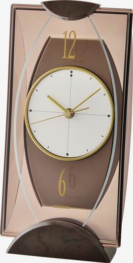 SEIKO Tischuhr in braun / hellbraun / gold / weiß, Produktansicht